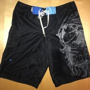 Hang Ten Black Skull Board Shorts Swim Trunks 30